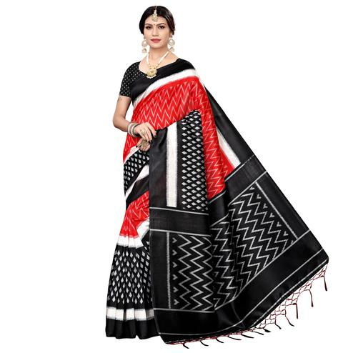 Entrancing Red Colored Festive Wear Printed Art Silk Saree