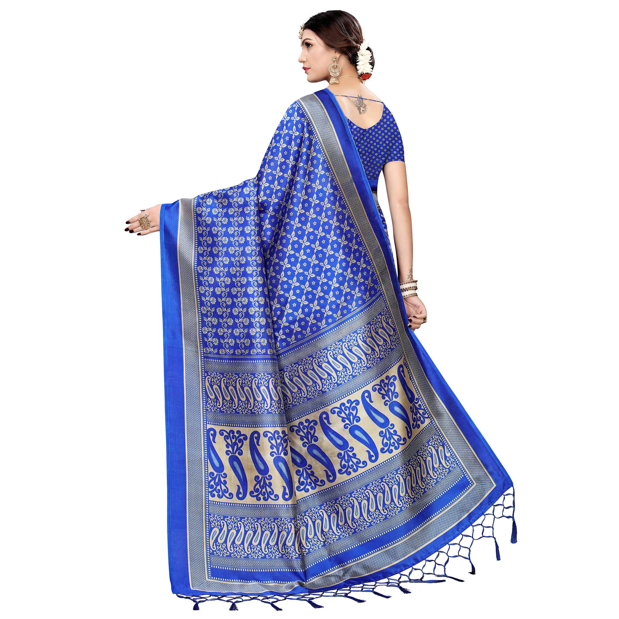 Jazzy Blue Colored Festive Wear Printed Art Silk Saree