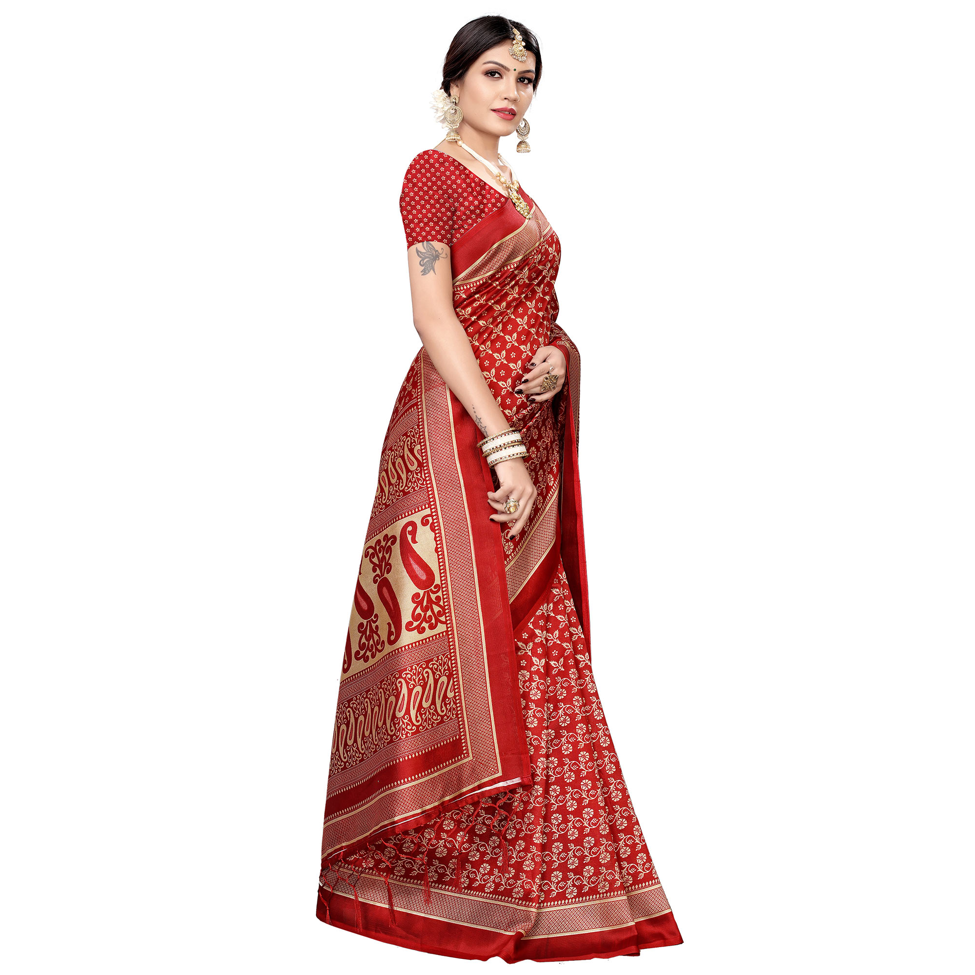 Energetic Red Colored Festive Wear Printed Art Silk Saree