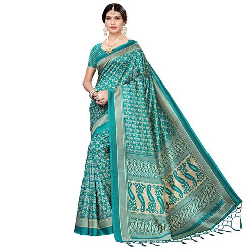 Eye-catching Rama Green Colored Festive Wear Printed Art Silk Saree