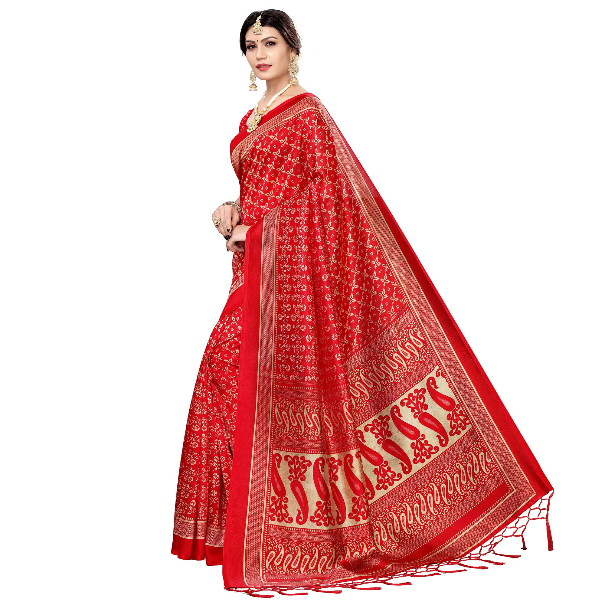 Ideal Red Colored Festive Wear Printed Art Silk Saree