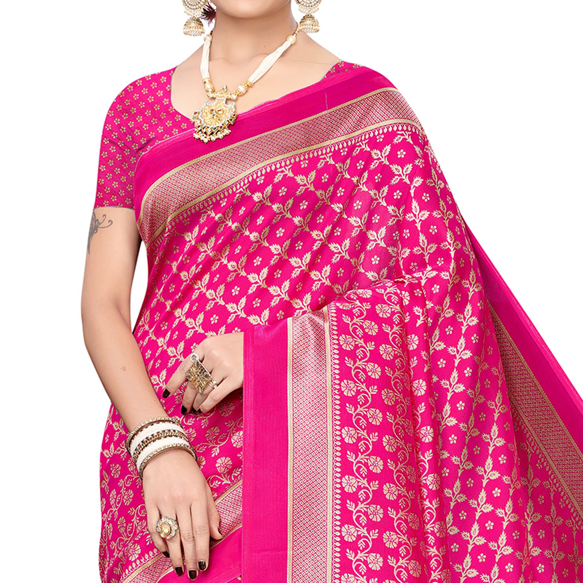 Surpassing Pink Colored Festive Wear Printed Art Silk Saree