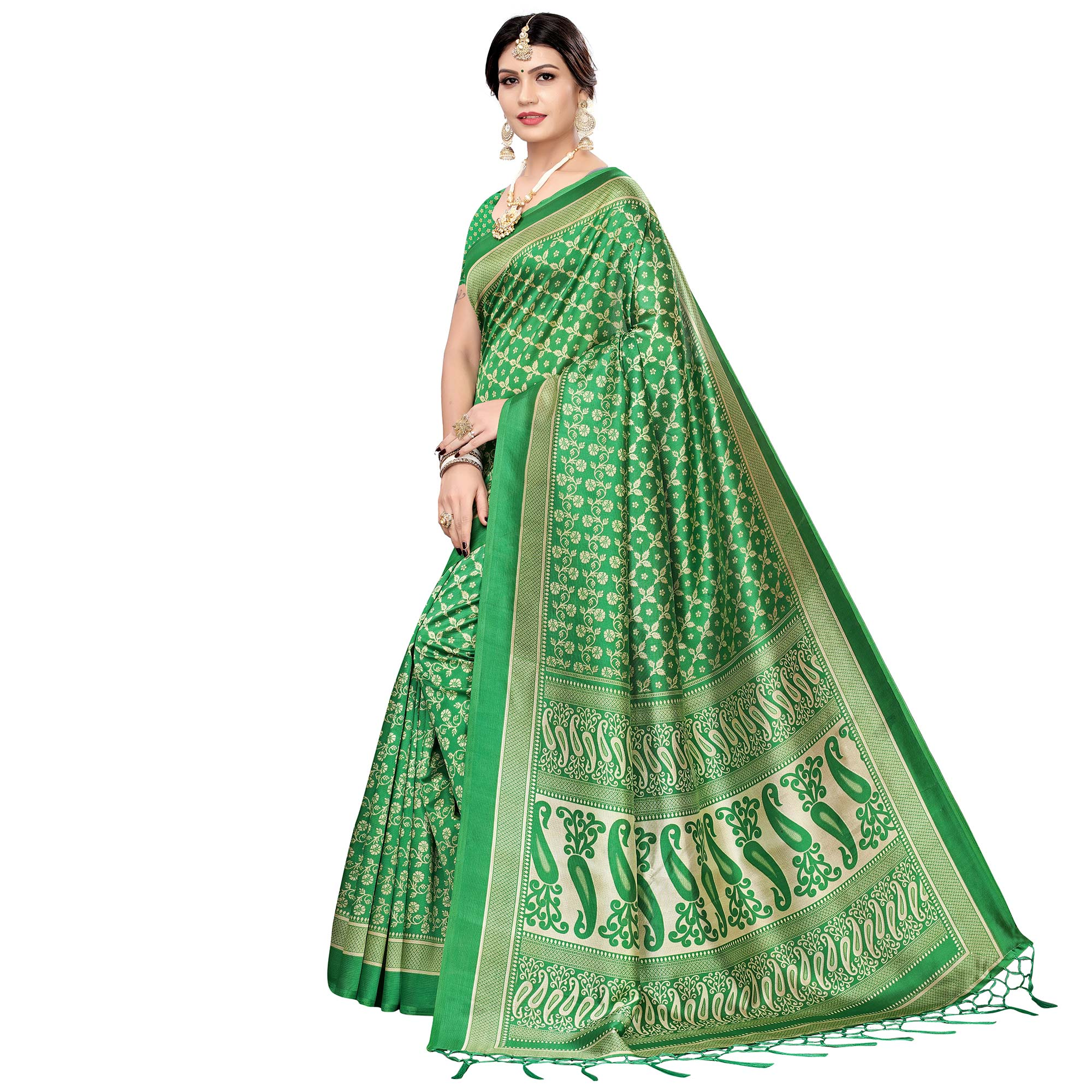Staring Green Colored Festive Wear Printed Art Silk Saree