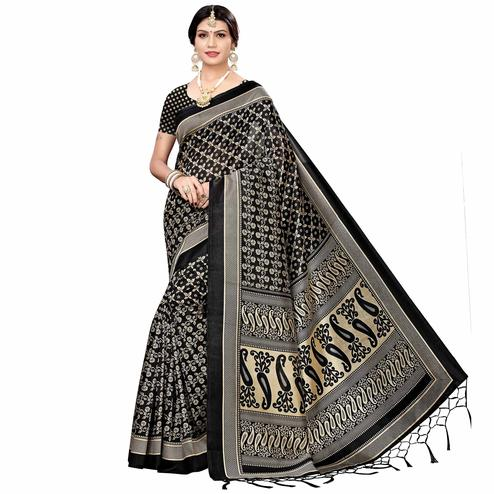 Majesty Black Colored Festive Wear Printed Art Silk Saree