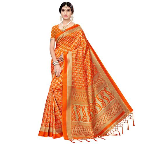 Graceful Orange Colored Festive Wear Printed Art Silk Saree