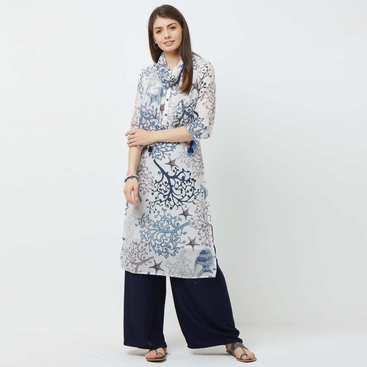 Beautiful White Colored Casual Printed Cotton Kurti With Dupatta