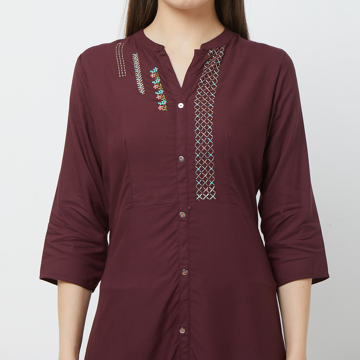 Lovely Maroon Colored Partywear Embroidered Cotton Kurti