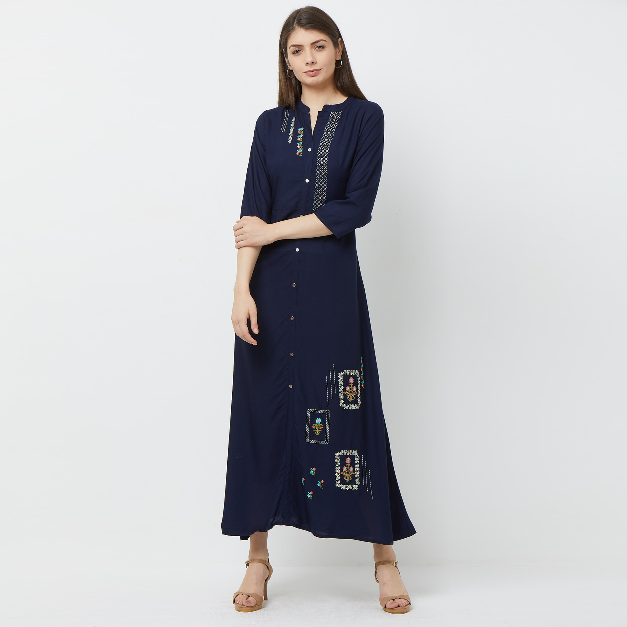 Gorgeous Navy Blue Colored Partywear Embroidered Cotton Kurti