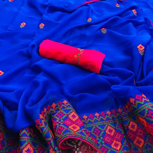 Glowing Blue Colored Partywear Embroidered Chiffon Saree