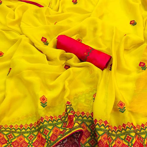 Attractive Yellow Colored Partywear Embroidered Chiffon Saree