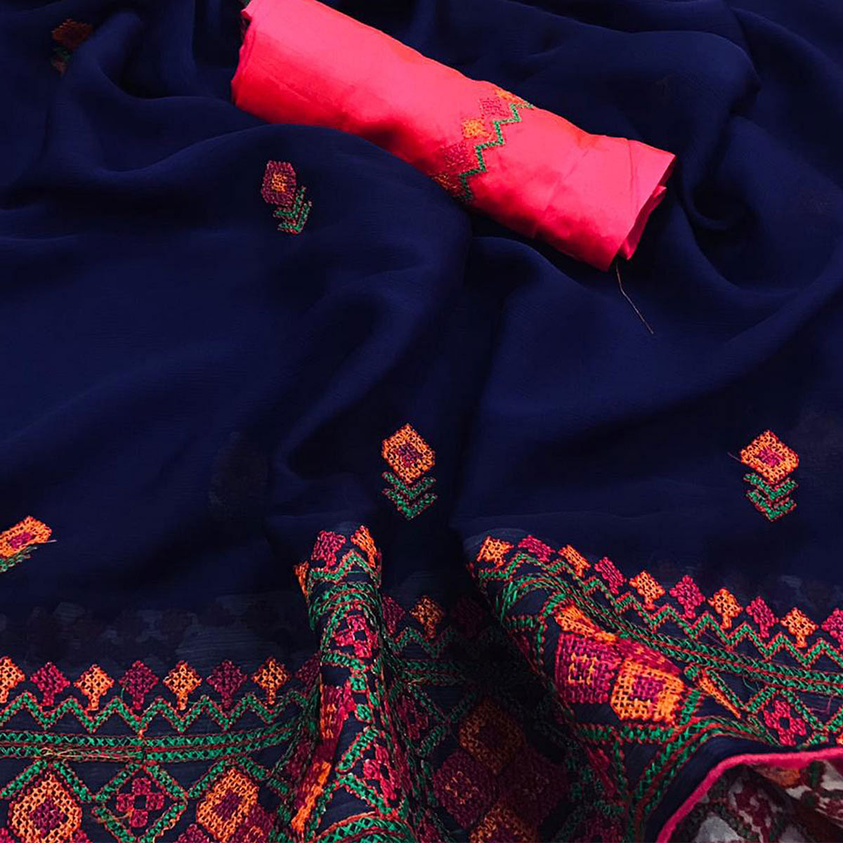 Desiring Navy Blue Colored Partywear Embroidered Chiffon Saree