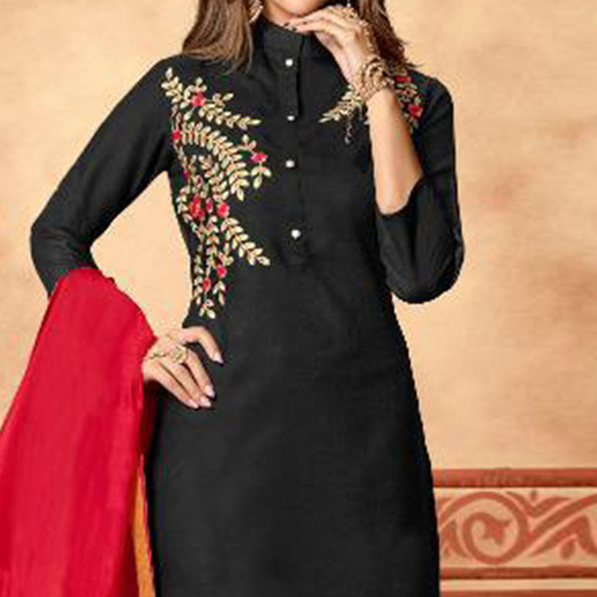 Flattering Black Colored Partywear Embroidered Cotton Dress Material