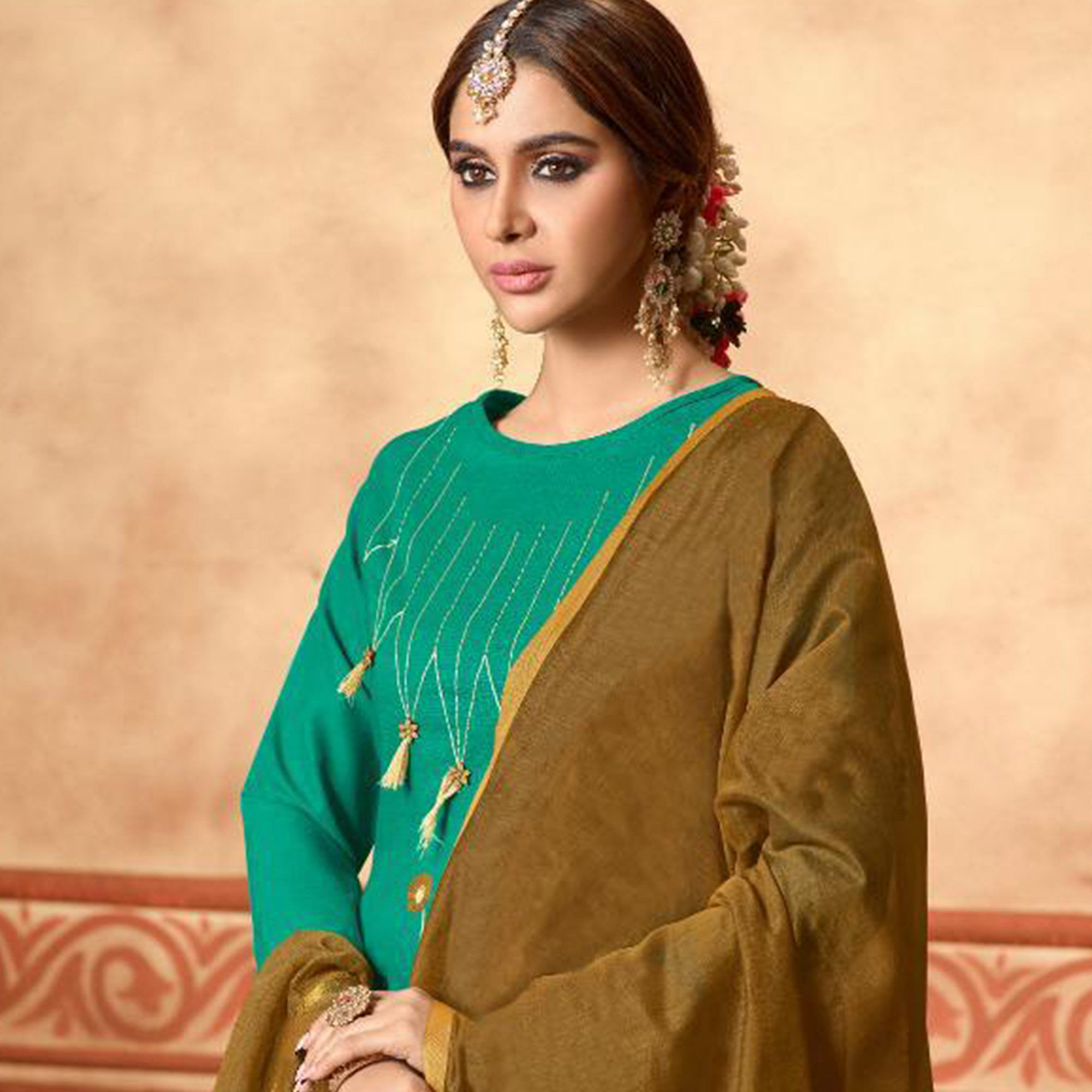 Excellent Turquoise Green Colored Partywear Embroidered Cotton Dress Material