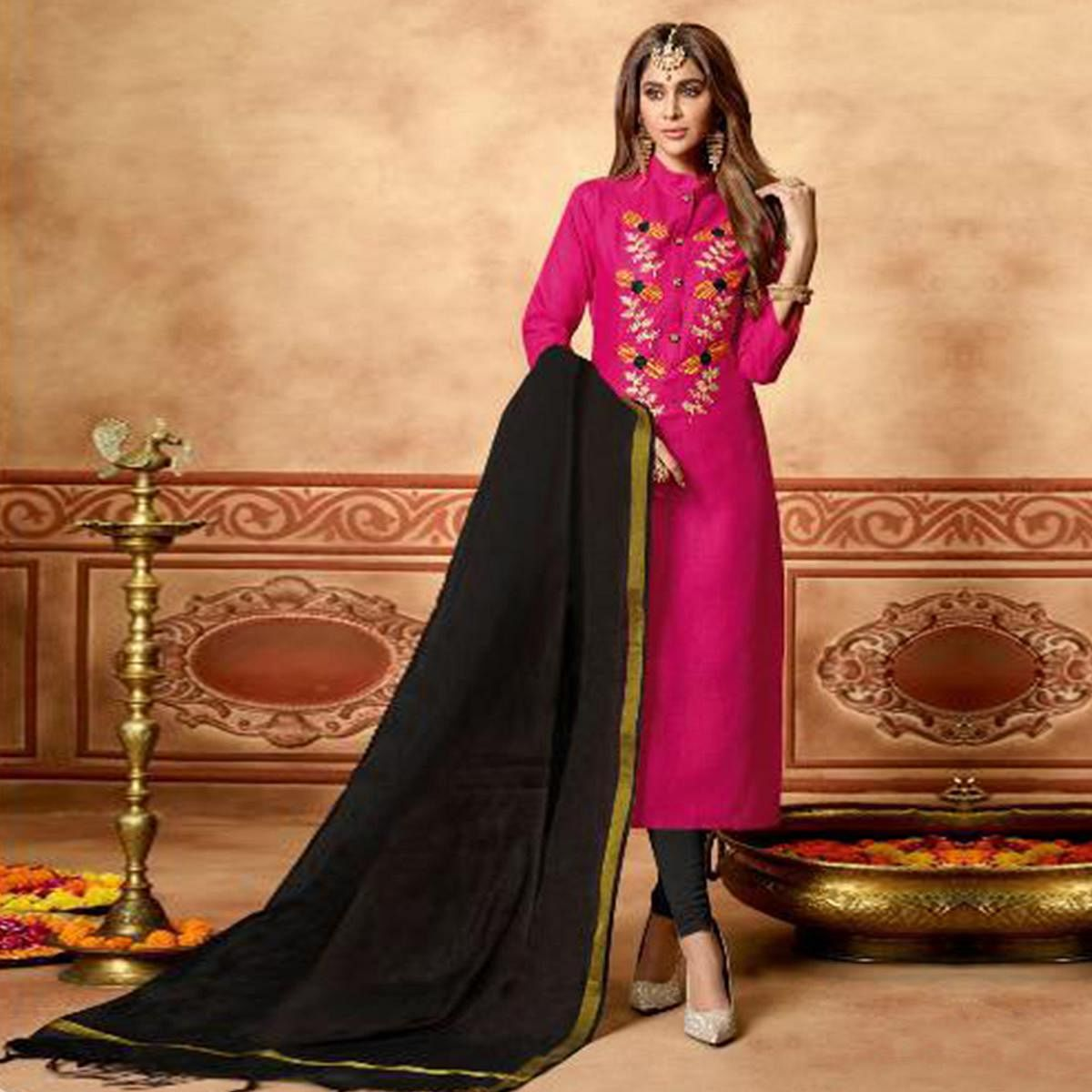 Preferable Pink Colored Partywear Embroidered Cotton Dress Material