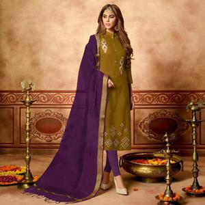 Marvellous Olive Green Colored Partywear Embroidered Cotton Dress Material