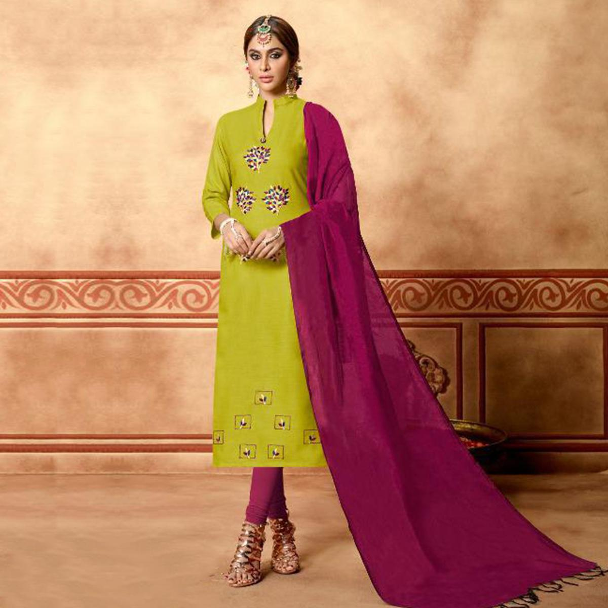 Flamboyant Light Green Colored Partywear Embroidered Cotton Dress Material