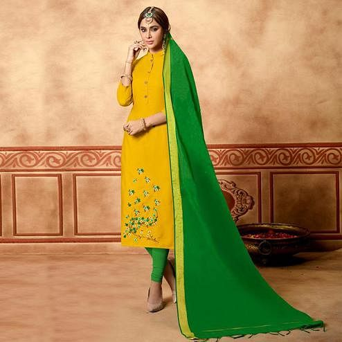 Appealing Mustard Yellow Colored Partywear Embroidered Cotton Dress Material