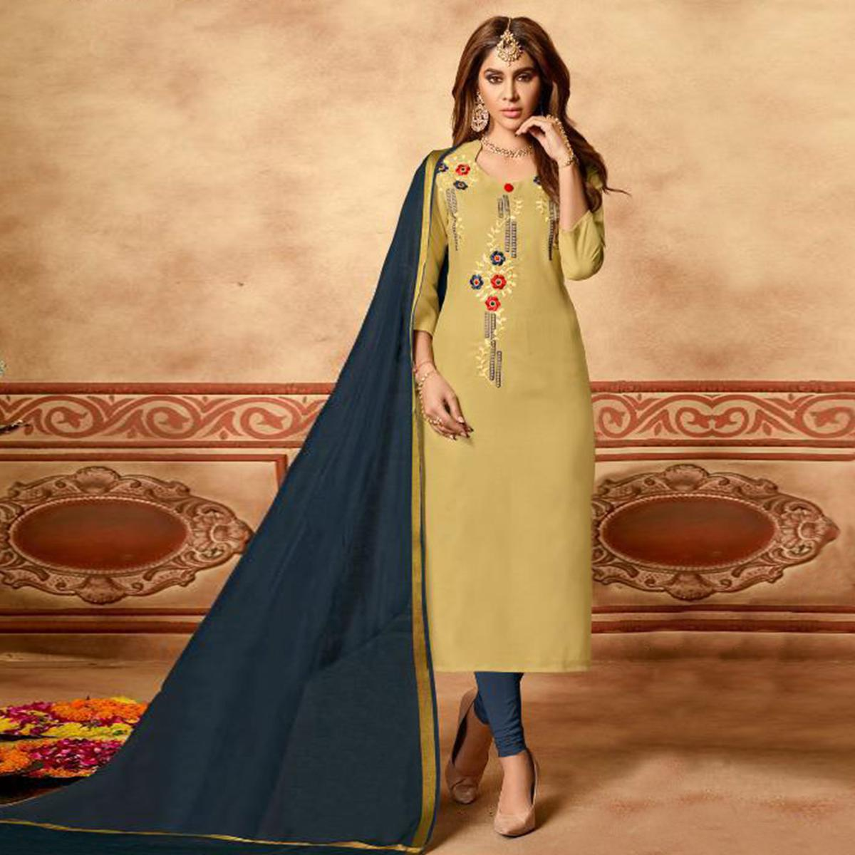 Entrancing Beige Colored Partywear Embroidered Cotton Dress Material