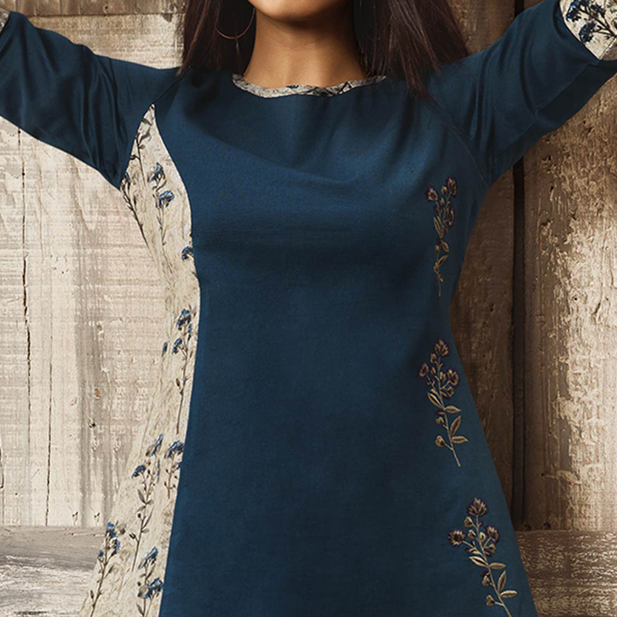 Fantastic Blue Colored Partywear Embroidered Cotton Western Top
