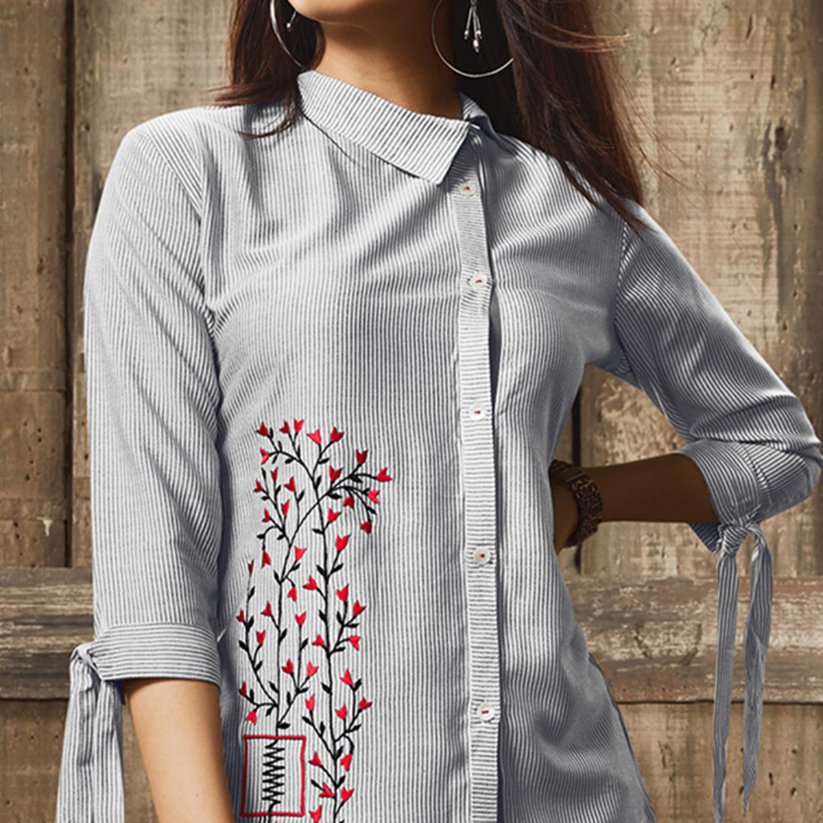 Stunning White Colored Partywear Embroidered Cotton Western Top