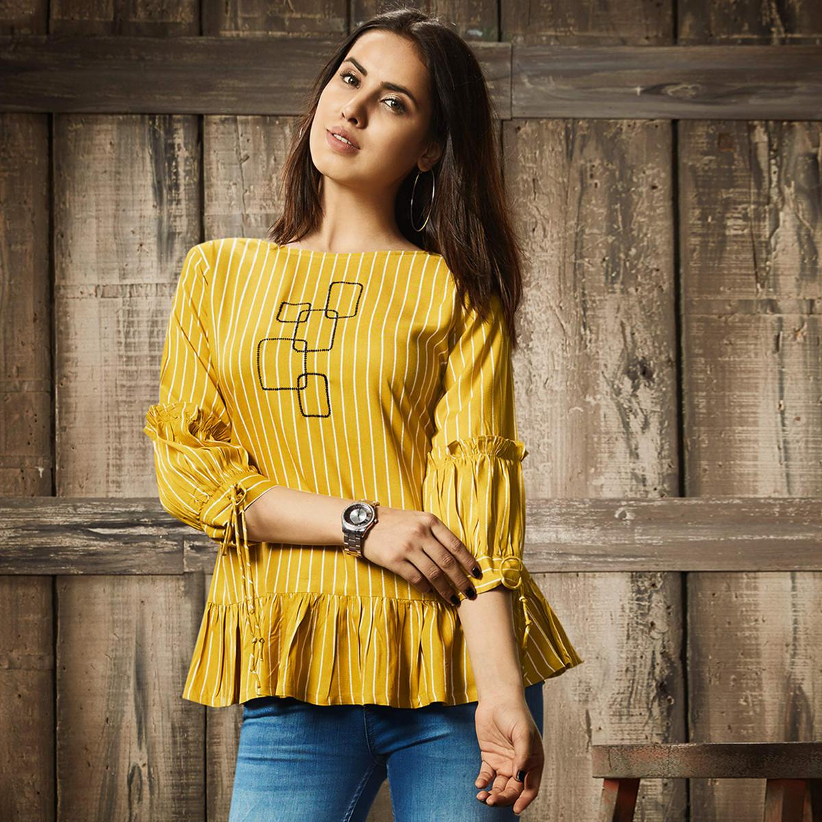 Eye-Catching Yellow Colored Partywear Embroidered Cotton Western Top