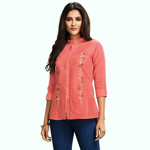 Flaunt Peach Colored Partywear Embroidered Cotton Western Top
