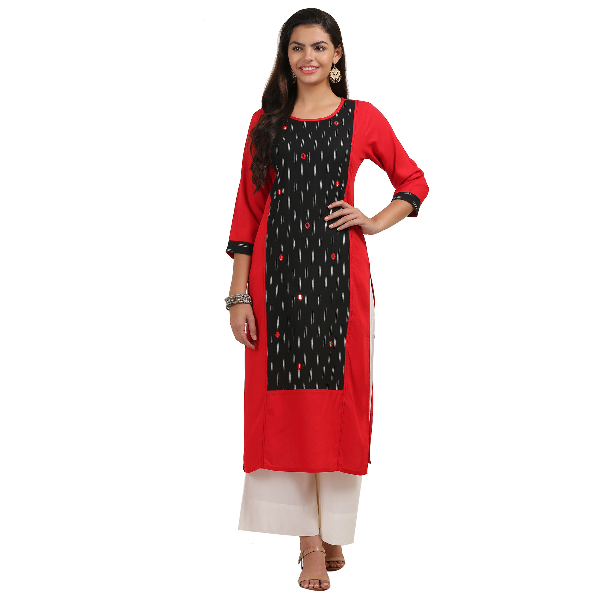 Elegant Red-Black Colored Casual Printed Cotton Kurti