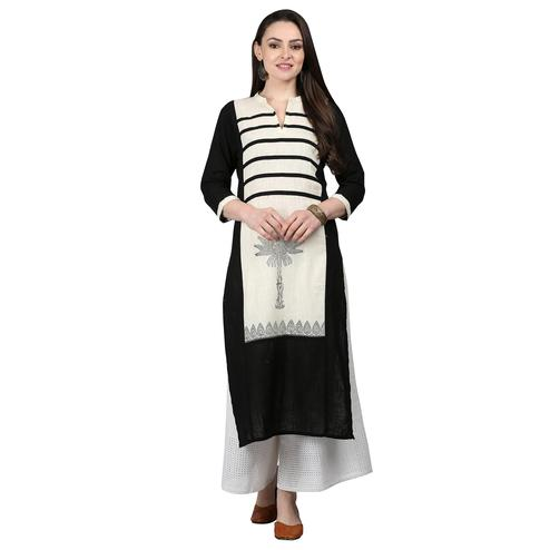 Pleasant Black-Off White Colored Casual Printed Cotton Kurti