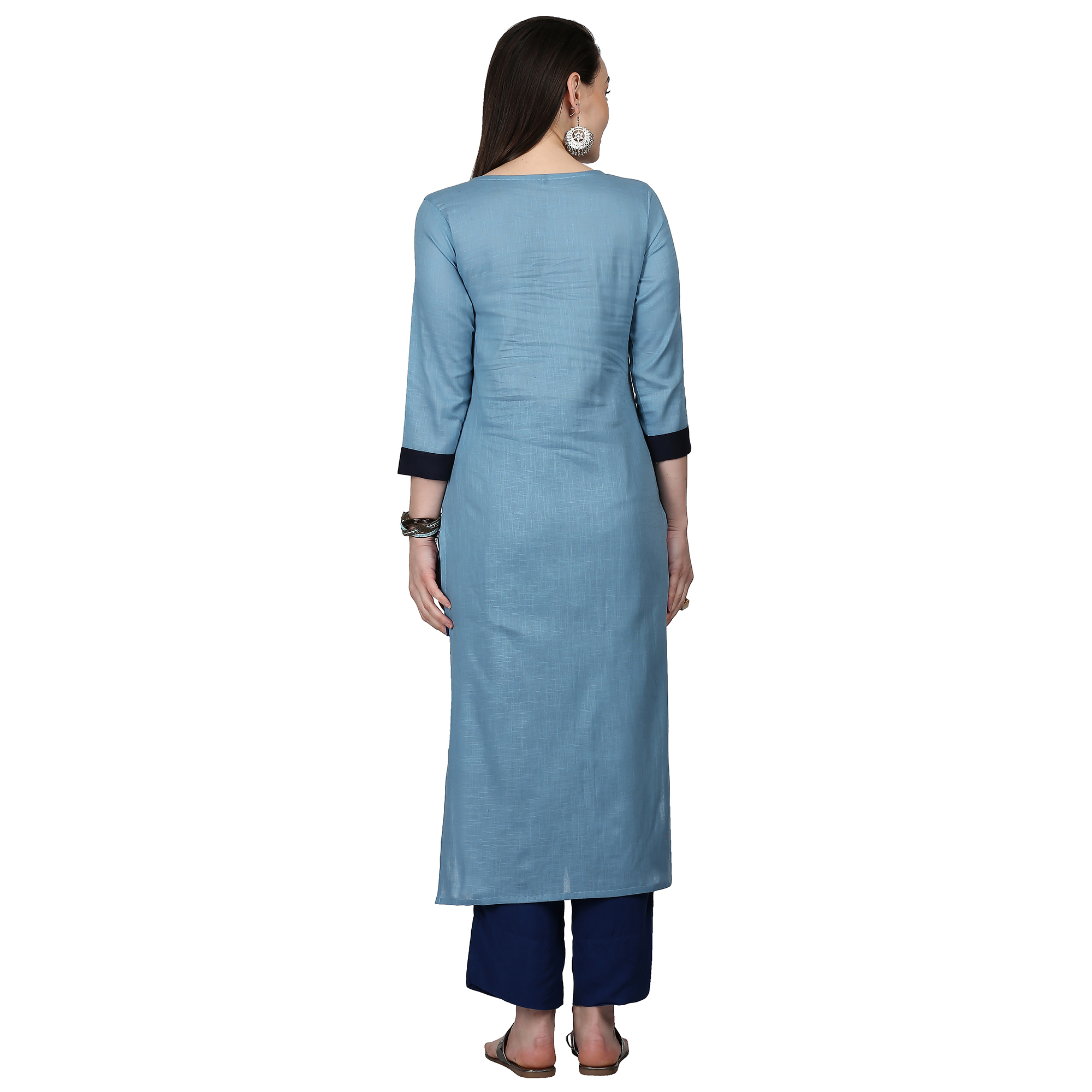Opulent Blue Colored Casual Wear Cotton Kurti
