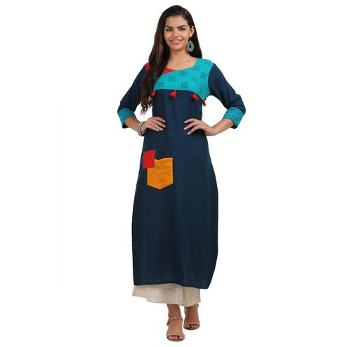 Energetic Navy Blue Colored Casual Wear Cotton Kurti