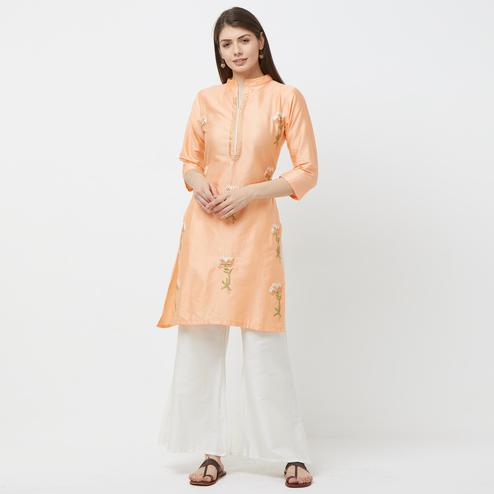 Demanding Peach Colored Partywear Embroidered Cotton Palazzo Suit