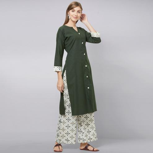 Graceful Green Colored Casual Printed Cotton Kurti-Palazzo Set