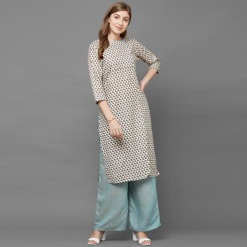 Soulful Cream Colored Casual Printed Cotton Kurti-Palazzo Set
