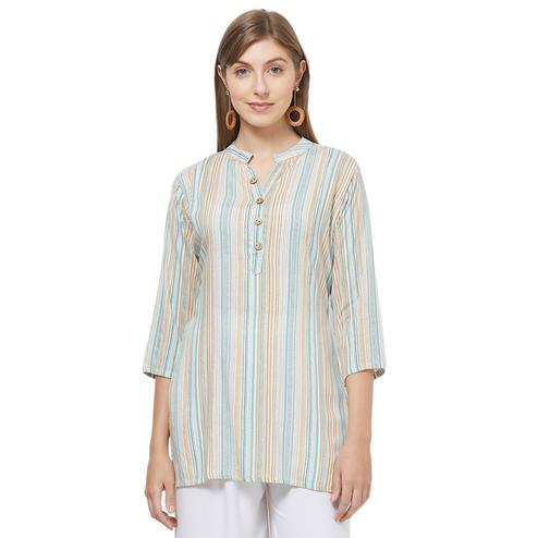 Lovely Green Colored Striped Cotton Top