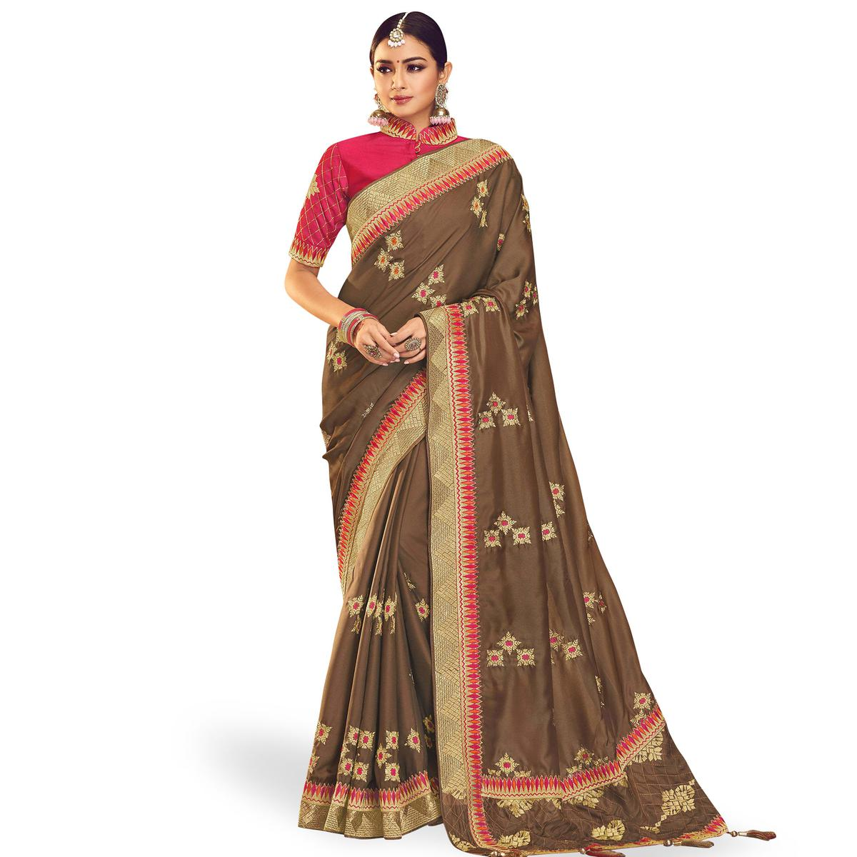 Innovative Brown Colored Partywear Embroidered Chinon Silk Saree