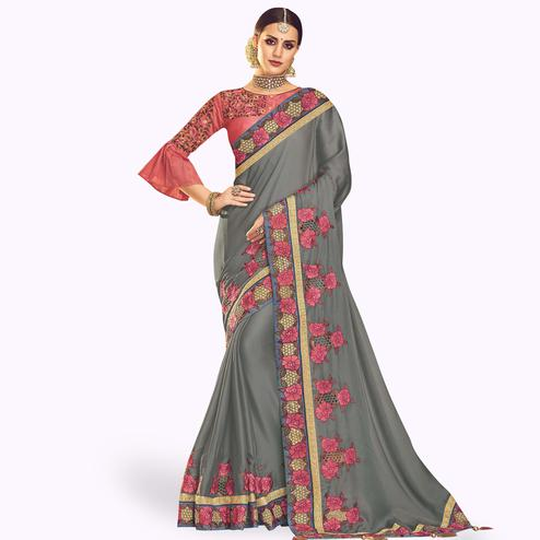 Amazing Gray Colored Partywear Embroidered Chinon Silk Saree