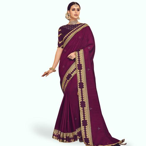 Gorgeous Magenta Pink Colored Partywear Embroidered Chinon Silk Saree