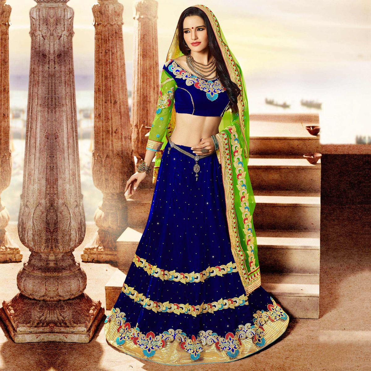 Gorgeous dark blue velvet lehenga