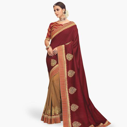 Impressive Maroon-Beige Colored Partywear Embroidered Chinon Silk Saree
