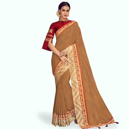 Ethnic Beige Colored Partywear Embroidered Chinon Silk Saree