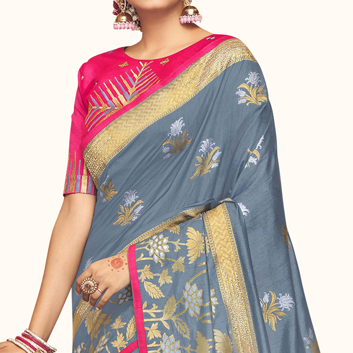 Ravishing Gray Colored Partywear Embroidered Chinon Silk Saree