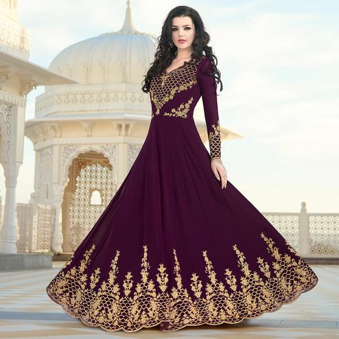 Hypnotic Purple Colored Partywear Embroidered Georgette Anarkali Suit