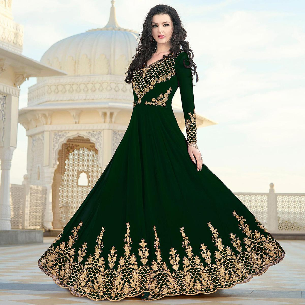 Flattering Green Colored Partywear Embroidered Georgette Anarkali Suit