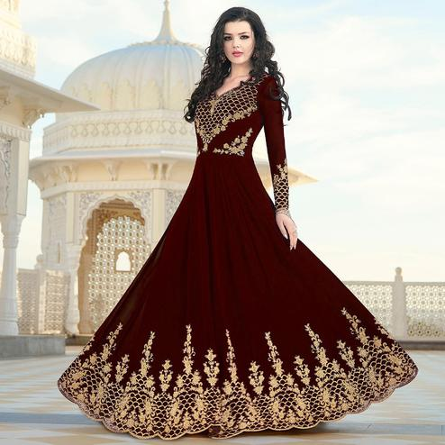 Excellent Brown Colored Partywear Embroidered Georgette Anarkali Suit