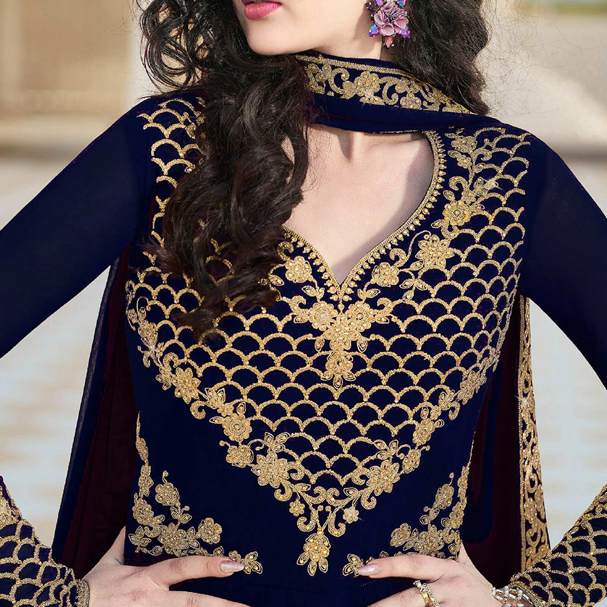 Preferable Navy Blue Colored Partywear Embroidered Georgette Anarkali Suit