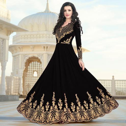 Marvellous Black Colored Partywear Embroidered Georgette Anarkali Suit