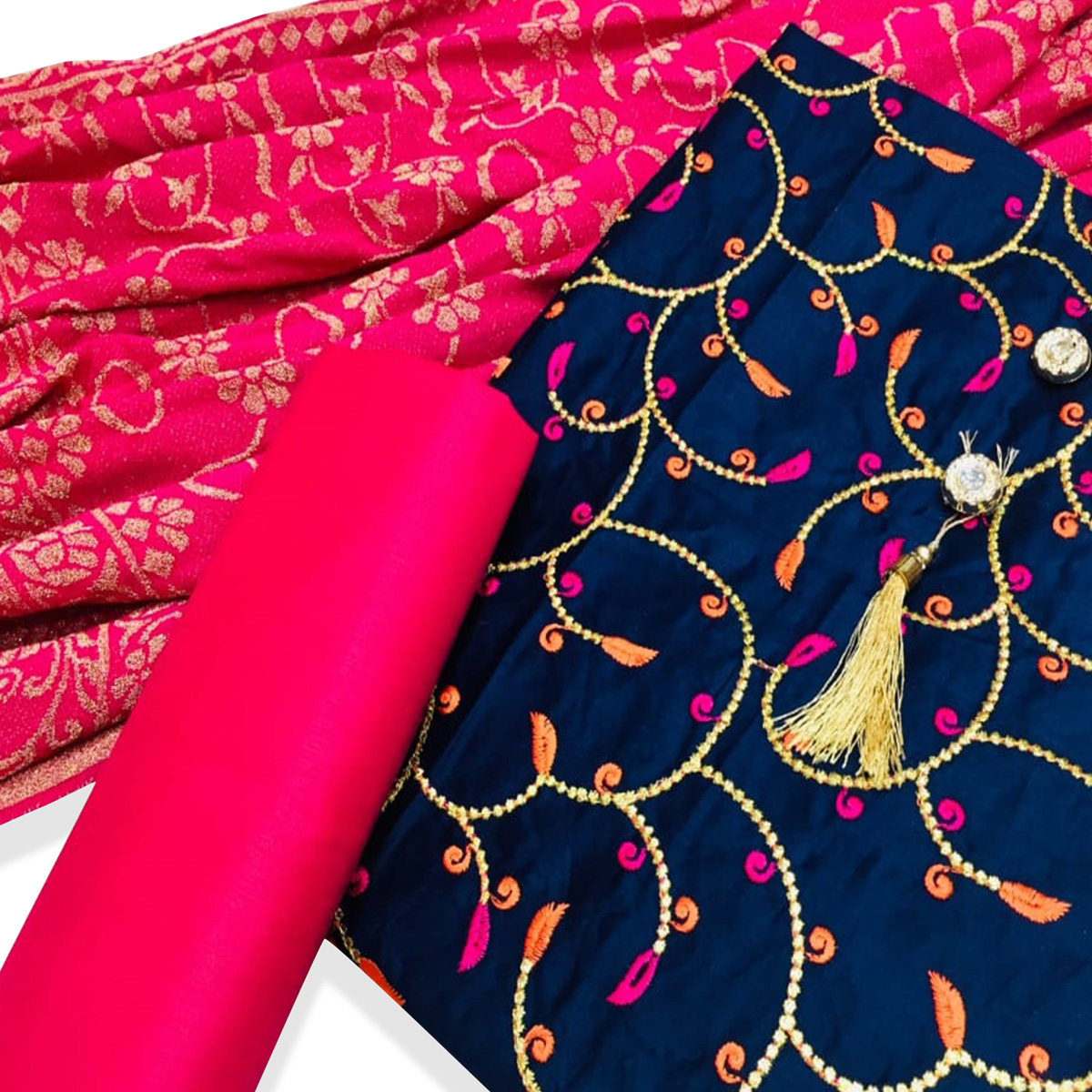 Desiring Navy Blue Colored Partywear Embroidered Cotton Dress Material