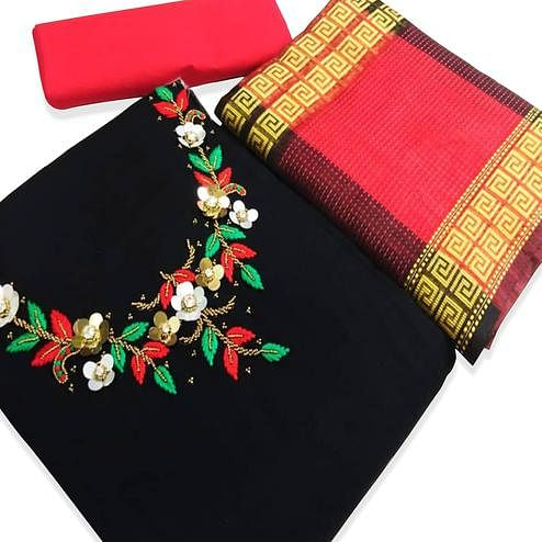 Flaunt Black Color Partywear Embroidered Cotton Dress Material