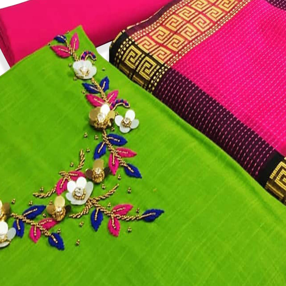 Adorning Green Colored Partywear Embroidered Cotton Dress Material