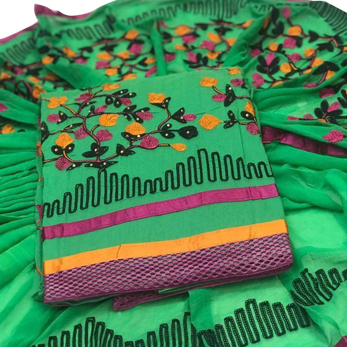 Adorable Green Colored Embroidered Partywear Chanderi Silk Dress Material